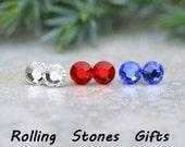 3 Pair 4.80mm Light Siam, Sapphire and Crystal Color Swarovski small Flat back Rhinestone Stud Earrings-Tiny Earring Set