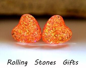 Peachy Pink 12mm Glitter Back Glass Heart Stud Earrings-Peach Glittery Heart Stud Earrings-Large Peach Heart Studs-Surgical Steel Studs