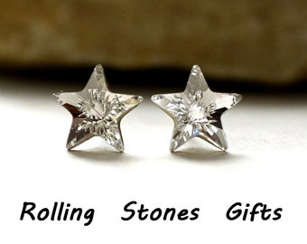 Crystal Color 10mm Swarovski Star Stud Earrings-Star Studs-Crystal Studs-handmade Studs-April Birthstone