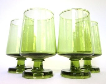 Mid-Century Modern Stemware, Set of 4 Small Green Goblets, Avocado Apertif Glasses Shot Glasses Barware