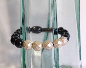Magnetic hematite bracelet - pearl dipped geometric beads - monochrome style - custom sized
