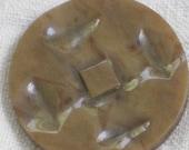 Jumbo Mottled Brown Celluloid Button - Shank Button - Mid Century - Antique VIntage Supplies