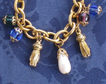 Vintage Chain Charm Bracelet - Gold Tone Links, Colored Stones, Tassels & Faux Pearl Teardrop - Jewelry, Accessories