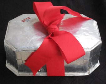 Large Antique Silver Foil Candy Box with 1 Yard Vintage Red Grosgrain Ribbon - Vintage Supplies, Storage, Home Decor - Valentine's Day
