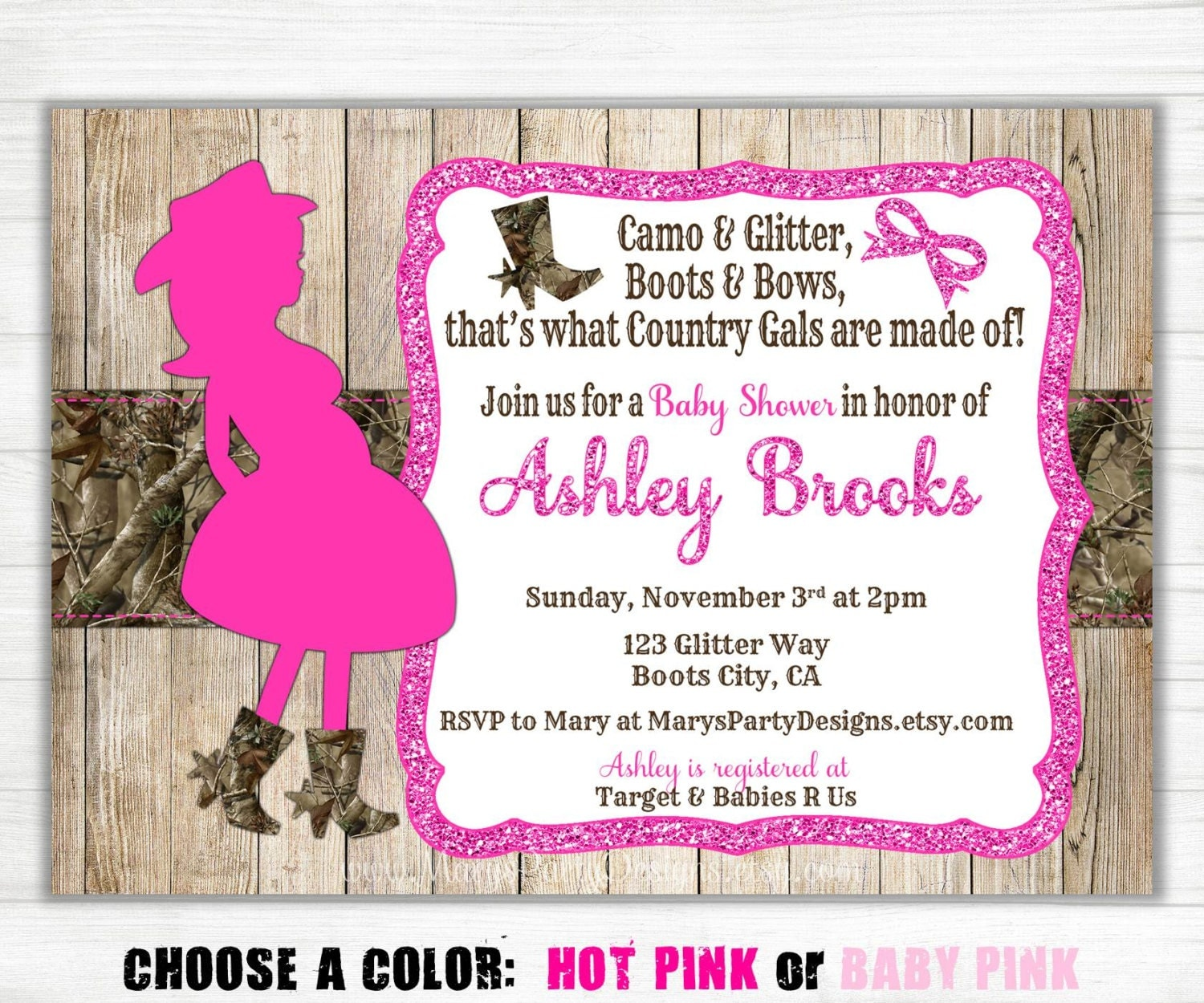 pink camo baby shower invitation sprinkle country wood