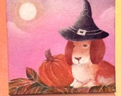 Original Painting of Witch Bunny on canvas with easel display gift wrap