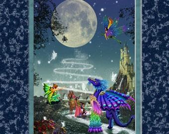 Full moon, fairy, dragon, elf, castle, night, starry night, magic, fantasy, art print,