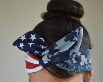 Navy girlfriend, Navy Headband - US Navy Girlfriend - Navy Headband - Hair Bows - Flag Headband - Dollybow Headband - A2