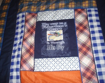 Creative flannel quilt with a humorous fishing theme