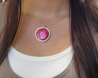 Red Glass Pendant,  melted glass marble pendant FIRE ENGINE RED, glass jewelry, necklace pendant 020