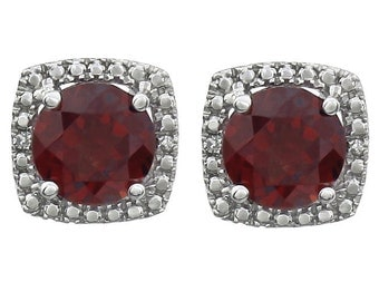 Gorgeous Garnet & Diamond Halo Earrings, January Birthstones, Valentines Day Gift