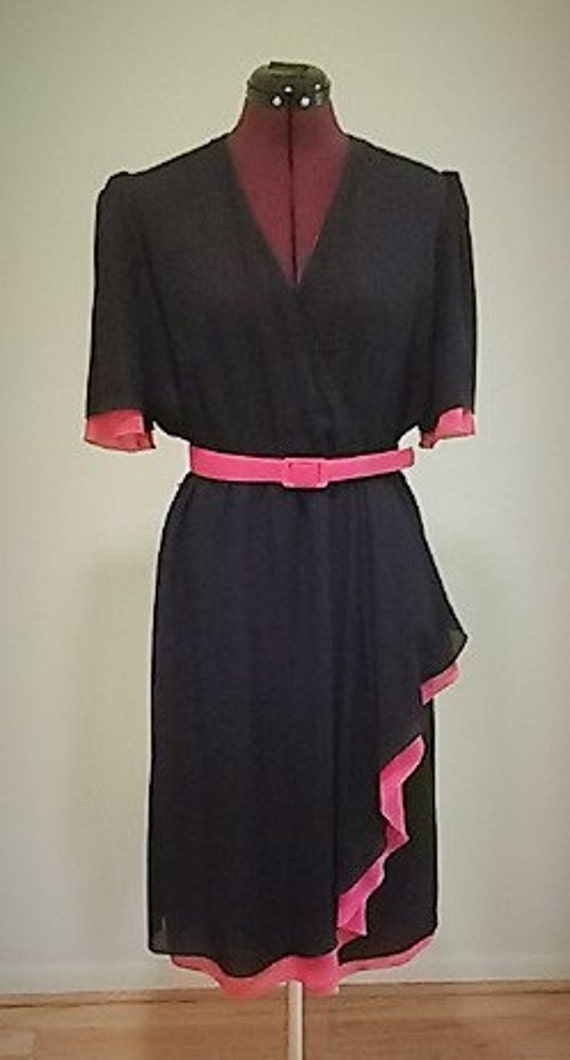 hal ferman dress with belt pink black vintage womens dress