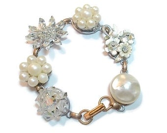 Vintage Earring Bracelet  Rhinestone Aurora Borealis Pearl Bridal Wedding Jewelry Up-cycled