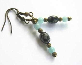 Snowflake Obsidian Earrings, Aqua Jade Beaded Earrings, Gemstone Earrings. BRONZE, Root & Heart Chakra Earrings, READY To Ship