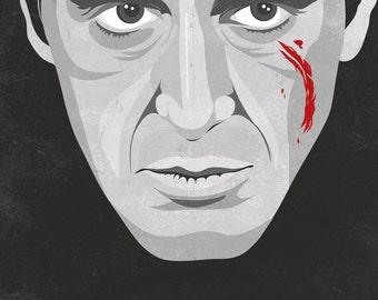Scarface,movie poster,Al Pacino,movie,art,digital print,iconic,man cave wall art,black,gray,wall decor
