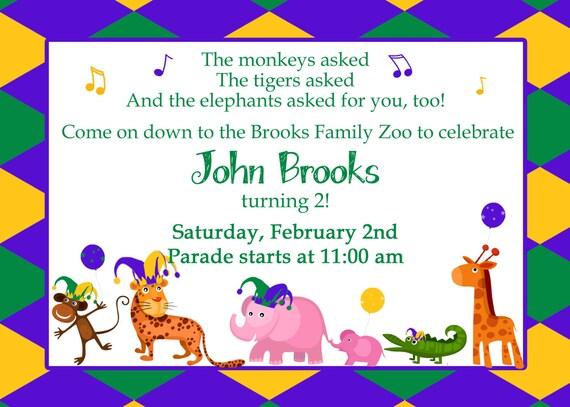 Mardi Gras Birthday Invitation-Digital File