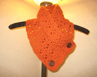 Orange Buttoned Neck Warmer/Cowl