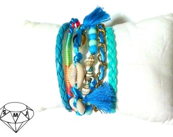MULTISTRAND BRACELET, total BLUE bracelet, friendship cuff, magnet clasp, silk tassels, shells, fake leather, blue beads, summer