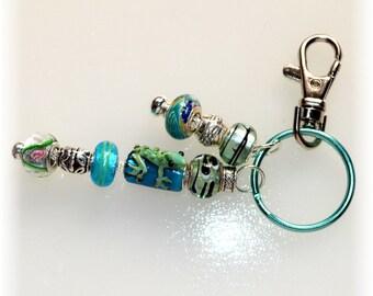 Frog & Tadpoles Beaded Key Ring