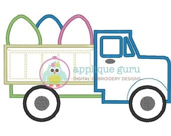 Easter Dump Truck Applique Machine Embroidery Design