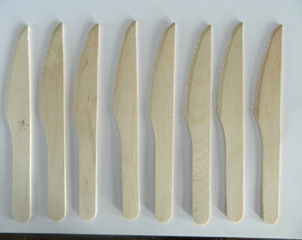 Set of 10 Wooden Knives- All Natural Birch Cultery- Earth Friendly Biodegradable Disposable Wood Knife- Wedding, Baby Bridal Shower Party