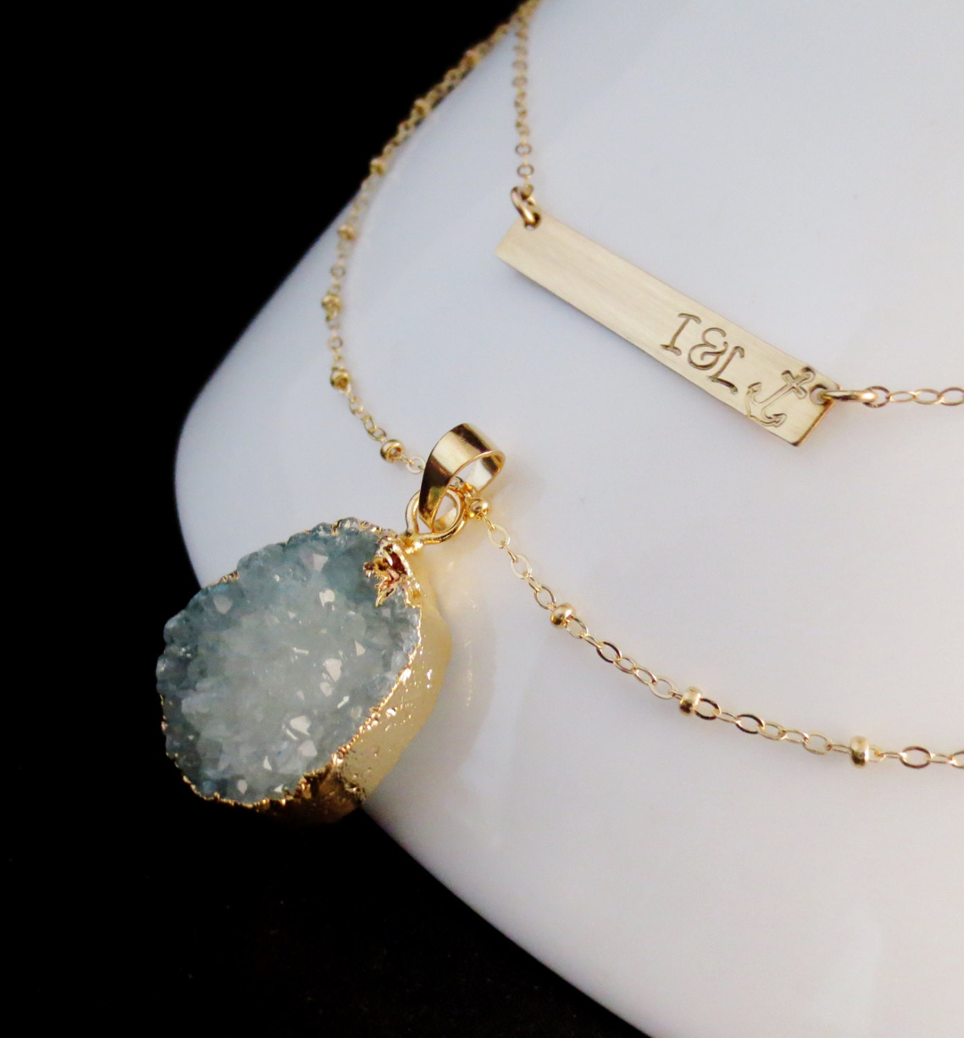 druzy personalized gold bar necklace set by chipandchisel