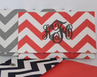 CHEVRON stripe zigzag Clutch Purse/ Bridesmaids Gift- CHOOSE your own colors