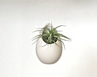 White Ceramic Hanging Planter, White Hanging Vase, White Ceramic Vase, White Vase, Hanging Plant Pod, Hanging Terrarium, Matte White Pottery