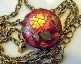 Necklace Handmade Beaded Vintage Cloisonne Pendant New Vintage Finished Adjustable Chain Solid Metal Intricate Exotic Boho Artisan Bead