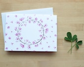 Pink Floral Wreath Notecard (Blank)