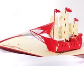 Sailing Ship Popup Greeting Card - Boat Pop-Up Paper Art Sculpture - Birthday 3D Greeting Card