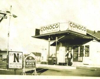 1940's Conoco Gas Service Station Digital Scan