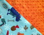 Baby Car Seat Canopy COVER and NURSING Cover: Dinosaurs on Teal with Bright Orange Minky, Personalization Available