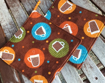 Two (2) Pot Holders - Coffees, Espressos and Lattes with Loops, Personalization Available