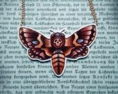 Death's Head Moth Tattoo-Style Jewellery Pendant