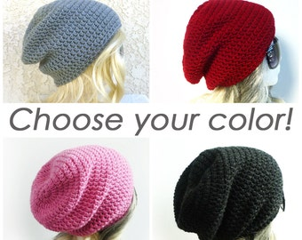 Slouchy Beanie CHOOSE YOUR COLOR, pick your color, Custom Size Crochet Slouch Hat mens Womens Teen Girl