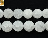 15 inch strand of Natural matte and cracked rock crystal quartz round beads 8 mm