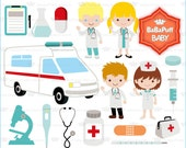 Doctor Nurse Ambulance Hospital Clip Art ---- Personal and Small Commercial Use ---- BB 0850