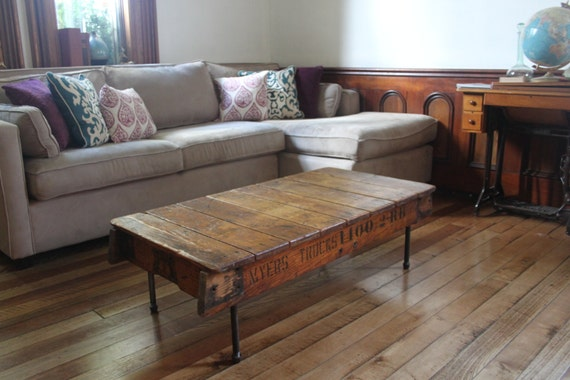 Reclaimed Wood Coffee Table Industrial Salvaged Design With
