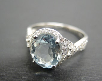 Engagement Ring -  3 Carat Aquamarine Engagement Ring With Diamonds In 14K White Gold
