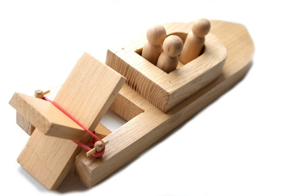 Wooden Toy Boat with Peg People. Kids Wood Bath Toy. Organic