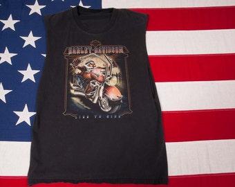 "Harley Davidson Sleeveless t shirt ""Live to Ride"""