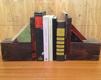 Handmade wooden rustic bookends with red, black and green