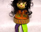 Painted Witch, Painted Sitting Witch, Small Witch, Painted Witch Doll, Shelf Sitter Witch Decor, Witch Painted, Witch Doll with Legs, HHCOFG