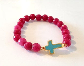 Cranberry Jade and Turquoise Cross Bracelet