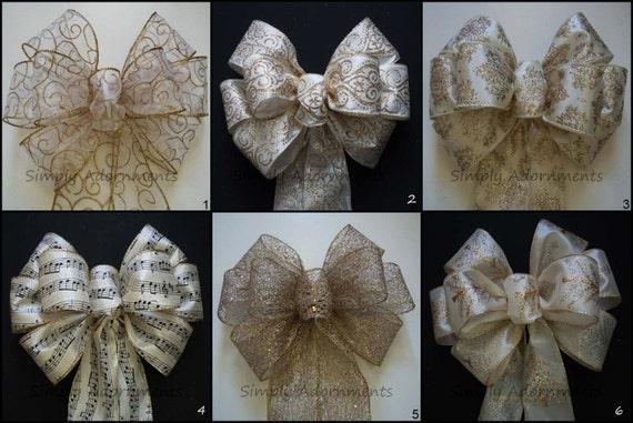 Gold Ivory Wedding Ceremony Bow Damask Wedding Pew Bow Wedding Aisle Decoration Ivory Gold Bridal Shower Gold Ivory Birthday Party Decor