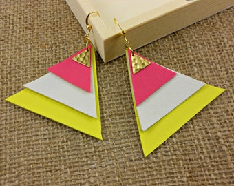 Vegan Leather Pyramid Earrings in Pink and Yellow