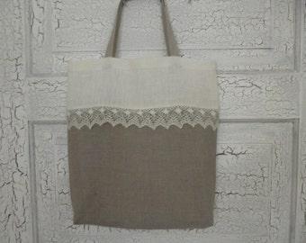 Linen tote bag white gray linen and lace bridal tote lingerie bag linen favor bag wedding