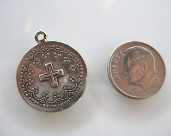 Sterling Silver 925 CROSS Medallion charm oxidized finish 20mm x 25mm Christain pendant