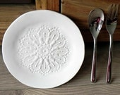 Rustic Ceramic Plate Snow White Lace Dessert Plate Pottery Serving Plate